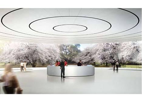 Sisäänkäynti Applen kampuksen maanalaiseen tuhannen hengen auditoriumiin.