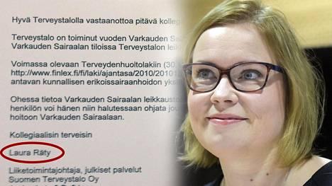 Kuvan taustalla on Laura Rädyn Terveystalon lääkäreille lähettämä saatekirje.