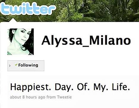 Alyssa Milano kertoi häistään Twitterissä. Viesti oli painokas: Elämäni. Onnellisin. Päivä.