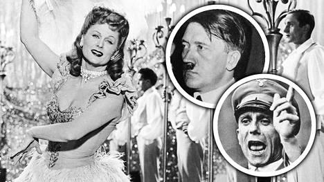 Natsi-Saksan ihailtu näyttelijätär Marika Rökk (vasemmalla) oli muun muassa sekä Adolf Hitlerin (keskellä) että Joseph Goebbelsin (oikealla) suosiossa. Asiakirja paljastaa, että Rökkin epäillään olleen Neuvostoliiton vakooja.
