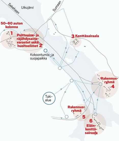 Sadan sotilaan suomalaisosasto tuhosi huoltokeskuksen 13. helmikuuta 1942 tehdyssä iskussa. Omat tappiot olivat viisi kaatunutta ja kuusi haavoittunutta.