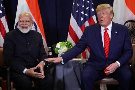 Trump ja Modi ovat tavanneet usein. Kuva viime syyskuulta.