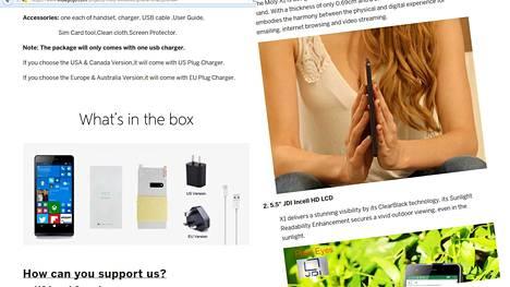Molyn markkinointi Indiegogossa hieman kummastuttaa. Yhdessä mainoskuvassa näyttävät naiselliset avut olevan pääosassa itse puhelimen sijaan.