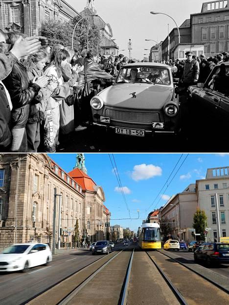 Länsiberliiniläiset ottivat rajaa ylittävät itäberliiniläiset Trabanteineen vastaan Invalidenstrassen rajanylityspaikalla 10.11.1989.
