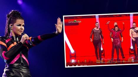 Saara Aalto veti Monstersin ensimmäistä kertaa tv-kameroiden edessä UMK:n jälkeen. Koko esityksen värimaailma ja esiintymisasu olivat muuttuneet.