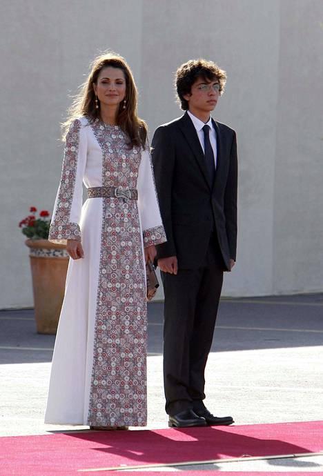Kuningatar Rania ja poika, kruununprinssi Al-Hussein.