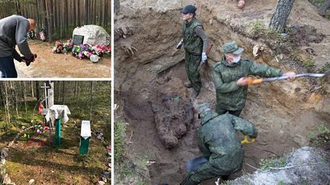 Venäläiset etsijät kaivoivat Sandarmohin joukkohautoja auki ensimmäisen kerran jo viime elokuussa, mutta nyt meneillään ovat uudet kaivaukset. Kuva on viime syksyltä, jolloin venäläiset kaivoivat esiin viiden ihmisen jäänteet.