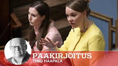 Pääministeri Sanna Marinin (sd) kerrotaan epäilleen valtiovarainministeri Katri Kulmunin (kesk) kykyjä, kun tämä oli pantannut kantaansa hallituksen hoitajamitoitusneuvotteluissa.