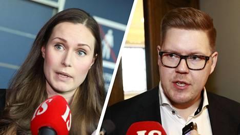 Sanna Marin (vas.) ja Antti Lindtman ovat olleet vahvimmin esillä Suomen uudeksi pääministeriksi.