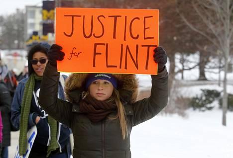 Mielenosoittaja vaati oikeutta flintiläisille maaliskuussa 2016.