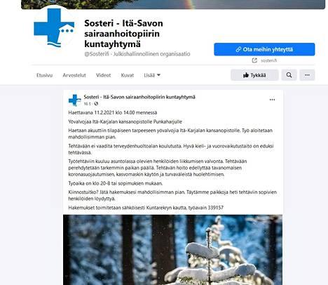 Itä-Savon sairaanhoitopiiri Sosteri haki Itä-Karjalan kansanopistolle yövalvojia Facebookissa. Rehtori vaati ilmoituksen poistamista opiston imagoon sopimattomana.