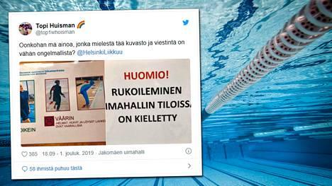 Helsinkiläisen uimahallin kieltokyltit ihmetyttävät.