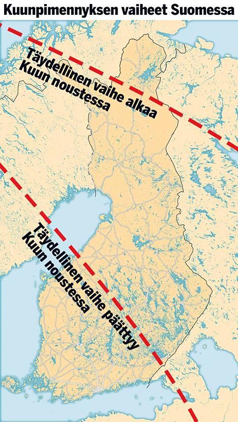 Kuu nousee Utsjoella klo 14.40 ja täydellinen pimennysvaihe alkaa 14.52. Oulussa Kuu nousee klo 15.53 ja täydellinen pimennysvaihe näkyy klo 16.08 asti. Helsingissä Kuu nousee klo 16.30 ja osittainen pimennysvaihe päättyy klo 17.11.