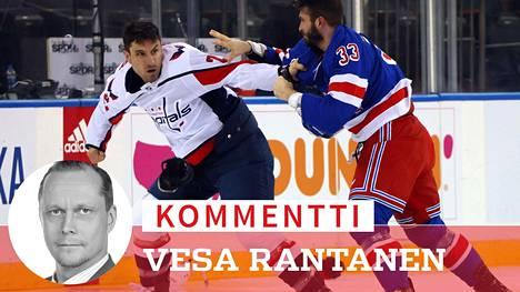 Washingtonin Garnet Hathawayn ja NY Rangersin Phillip Di Giuseppen välinen tappelu oli yksi lukuisista NHL:n torstaiyön ottelussa.