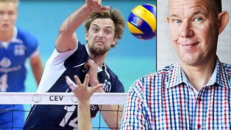 Ylen toimittaja Kaj Kunnas (oik.) käyttää lentopallomaajoukkueesta lempinimeä Äijät. Maajoukkuepelaaja Konstantin Shumov ei innostu lempinimestä.