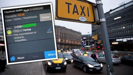 Taksin asiakas tilasi viime viikonloppuna kyydin kuvan saatesanoin. Kuvan taksit eivät liity tapaukseen.