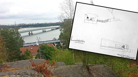 Arkkitehtuurimuseon arkistoista löytyneet piirrustukset kuvaavat Helsingin Lauttasaareen suunniteltua, mystiseksi jäänyttä Luolakirkkoa.
