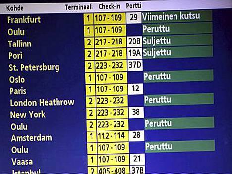 Lentoja on peruttu Helsinki-Vantaalla.
