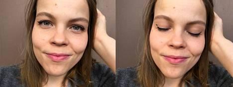 Oikean silmän rajaus näyttää paremmalta silmät auki, vasemman rajaus taas silmät kiinni.