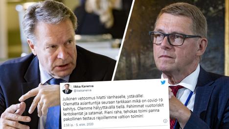 Ilkka Kanerva (vasemmalla) vetosi Twitter-tilillään Matti Vanhaseen.