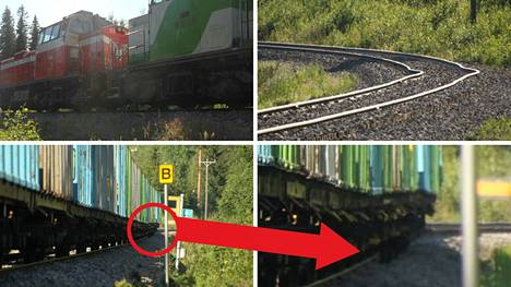 Vertti Kontisen ottamissa kuvissa näkyy, miten ratakiskot ovat vääntyneet pahasti Vesangan onnettomuuspaikalla.