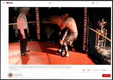 Porvoon poliisiampumisen toinen epäilty (mustissa shortseissa) vapaaottelemassa. Video tapahtumasta julkaistu Youtubessa lokakuussa 2010.