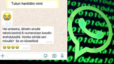 WhatsAppiin tulee yhteydenotto tutulta. Siinä pyydetään tekstiviestitse samaan aikaan tullutta koodia. Sitä ei pidä luovuttaa eteenpäin.
