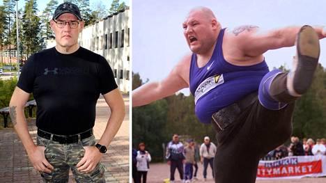 Mika Halvari on laihtunut aktiiviajoistaan 80 kiloa. Oikeanpuoleinen kuva on vuodelta 2001.