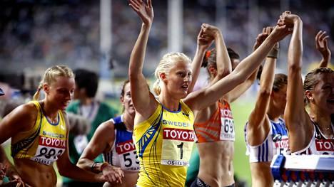 Carolina Klüft voitti Osakassa seitsenottelun MM-kultaa vuonna 2007.
