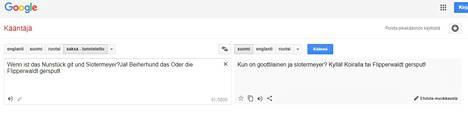 """Suomeksi """"maailman hauskin vitsi"""" on vain rajallisen hauska. Kuvakaappaus Google Kääntäjästä."""
