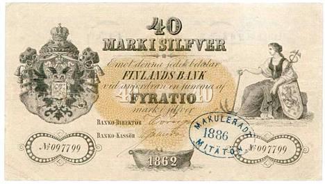 40 markan seteli vuodelta 1862 on harvinaisuus.