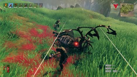 Urheat viikingit surmasivat pelin ensimmäisen pomon. Jokaisen pomon voittaminen avaa uusia rakentelumahdollisuuksia.