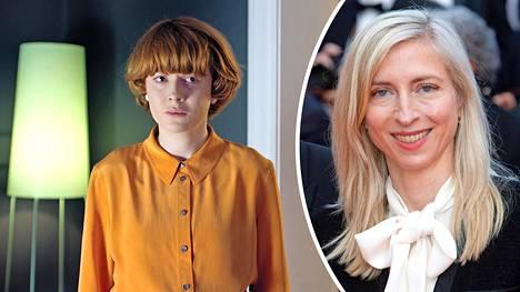 Emily Beecham näyttelee jännitysdraamassa Little Joe geenitutkijaa, joka kehittää onnellisuutta luovaa kukkaa. Oikealla ohjaaja Jessica Hausner.