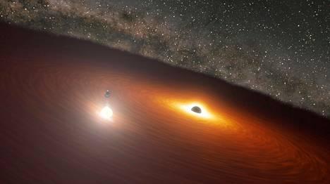 Suurempaa mustaa aukkoa kiertää kaasua kiekon muodossa. Pienempi musta aukko kiertää suurempaa mustaa aukkoa kiekon tason ulkopuolella. Kun pienempi musta aukko osuu kiekkoon, syntyy valtava leimahdus.