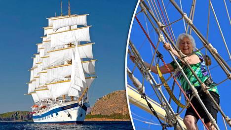 Luksusristeilijässä on 42 purjetta – Marjorie, 84, kiipesi Royal Clipperin mastoon