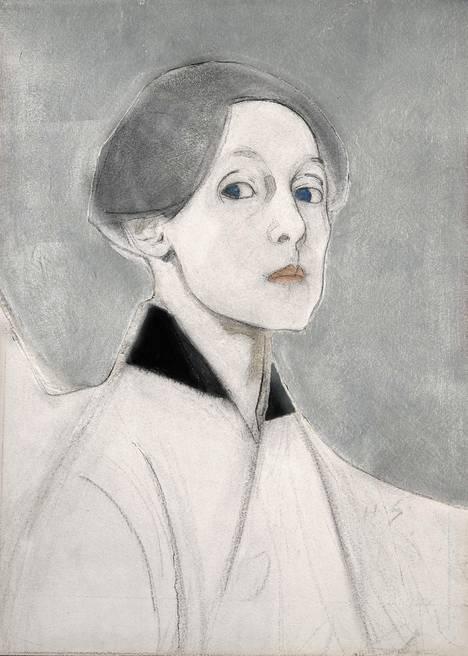 Helene Schjerfbeck: Hopeataustainen omakuva.