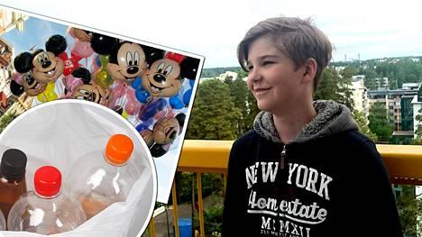 12-vuotias Joona matkustaa syyskuun lopulla Kalifornian Disneylandiin panttipullojen avulla keräämillä rahoilla.