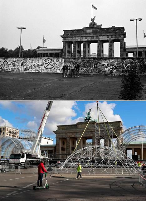 Brandenburgin portti kesäkuussa 1989, kun muurin murtumista ei vielä kukaan osannut ennustaa. 30-vuotisjuhlallisuuksia valmisteteltiin jo lokakuun lopulla (alakuva).