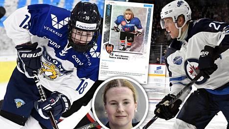 Petra Nieminen hassutteli juniorina vastustajia samassa Tapparan juniorijoukkueessa Patrik Laineen kanssa.