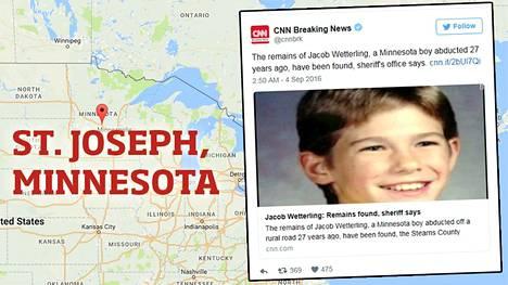 Jacob Wetterling oli kotoisin St. Josephista, Minnesotasta.