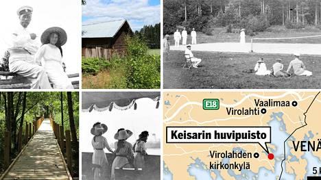 Virolahdella Tillintien varrella sijaitseva keisarin huvipuisto on nykyäänkin nähtävyys, joka kasvaa kaunista lehtimetsää.