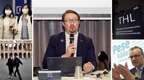 THL:n johtaja Mika Salminen (kuvassa keskellä) kertoi koronaviruksesta THL:n tilannekatsauksesta 13.helmikuuta.