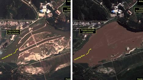 Joki tulvii lähellä ydinvoimalaa Pohjois-Koreassa.