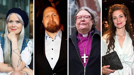 """Paola Suhonen (vas.), Karri """"Paleface"""" Miettinen, Irja Askola ja Manuela Bosco ovat Suomi 100 -juhlavuosihankkeen hallituksen jäseniä."""