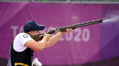 Eetu Kallioinen ampui lähes virheettömän kilpailun ensimmäisissä olympialaisissaan. Amerikkalainen Vincent Hancock voitti jo kolmannen olympiakultansa.