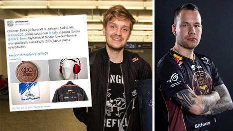 """Jesse """"JerAx"""" Vainikan (vasemmalla) tavaroita löytyy jatkossa Urheilumuseosta. ENCEstä muun muassa CS-lajilegenda Aleksi """"allu"""" Jalli lahjoitti vanhan pelipaitansa."""
