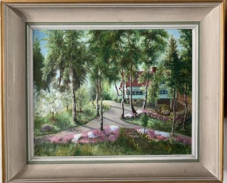 Huvila on ikuistettu myös Juhosten kotona olevaan maalaukseen.