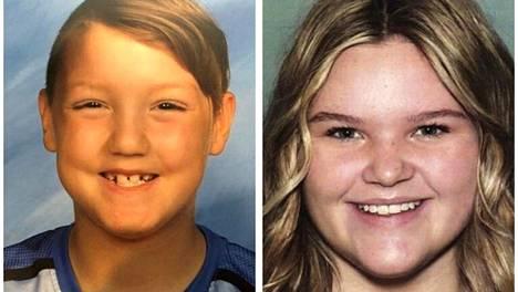 Joshua Vallow, 7, ja Tylee Ryan, 17, poliisin julkaisemassa kuvassa. Lapsista ei ole havaintoa sitten syyskuun.