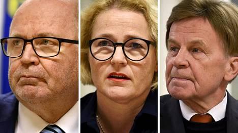 Eero Heinäluoma (vas.), Miapetra Kumpula-Natri ja Mauri Pekkarinen.