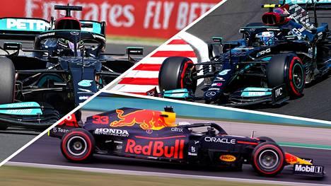 Lewis Hamilton (vas.) ja Max Verstappen (alhaalla) kisaavat F1:n mestaruudesta. Valtteri Bottaksen tehtävä on auttaa Hamiltonia.